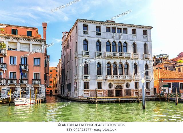 Narrow venetian channel near Garzoni Palace on the Grand Canal of Venice