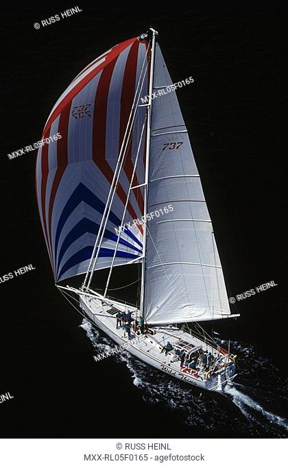 Aerial of Sailboat, Swiftsure race, Wildthing