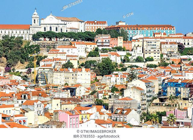 View over the Alfama district and monastery church Igreja da Graça, Lisbon, Portugal