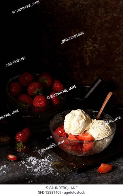 Salted Honey Ice Cream with Strawberries