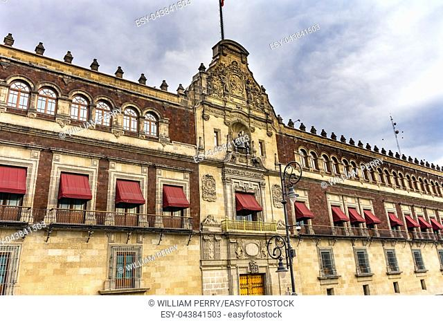 Presidential National Palace Balcony Monument Zocalo Mexico City Mexico. Palace built by Cortez in 1500s. Balcony where Mexican President Appears