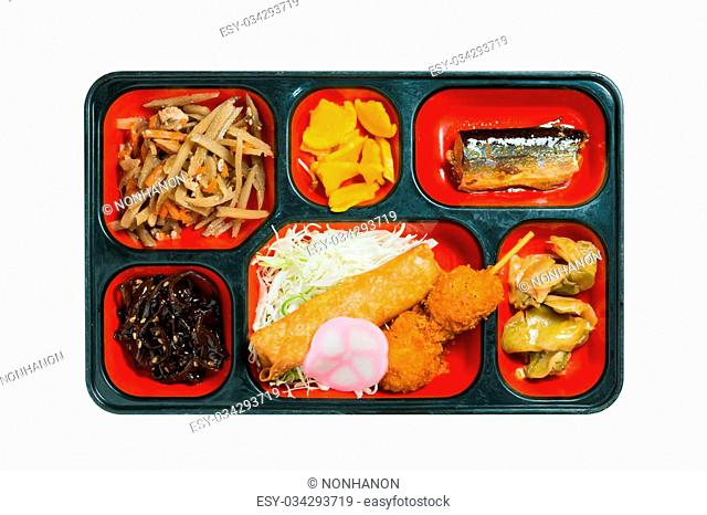 Japan Food set of grilled fish and other in a box isolated on white / Japan food (Bento)