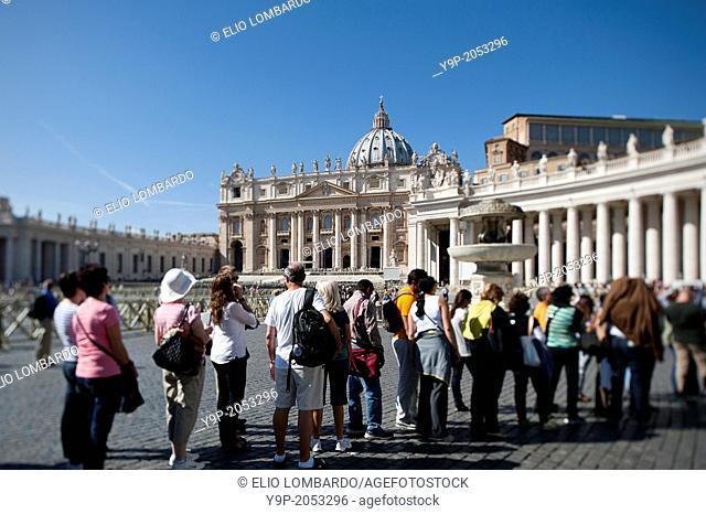 Faithfuls in a Row in Saint Peter's Square. Vatican City. Rome. Italy