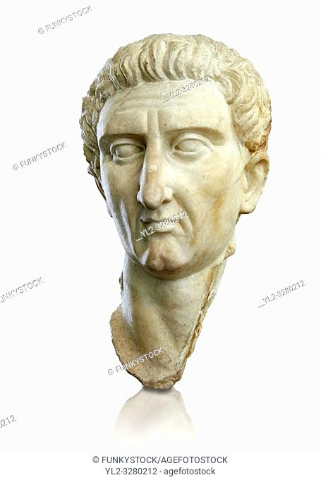 Roman Portrait bust of Roman Emperor Nerva, circa 96 to 98 AD excavated from Tivoli. The National Roman Museum, Rome, Italy
