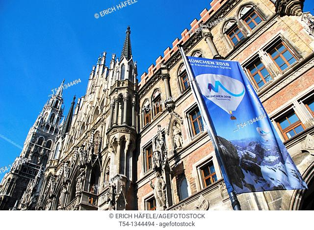 Application For Olympic flag in front of the Winter Games in 2018 before the Munich City Hall
