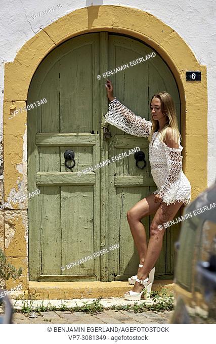 Young woman in holiday destination. Malia, Crete, Greece