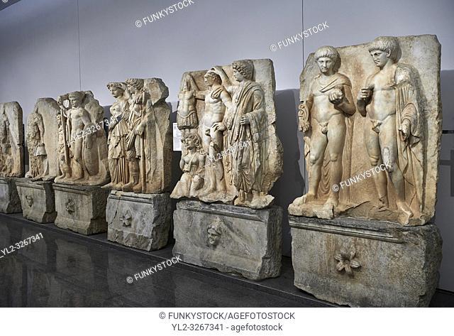 Interior of Aphrodisias Museum, showing Roman Sebastian relief sculptures, Aphrodisias, Turkey