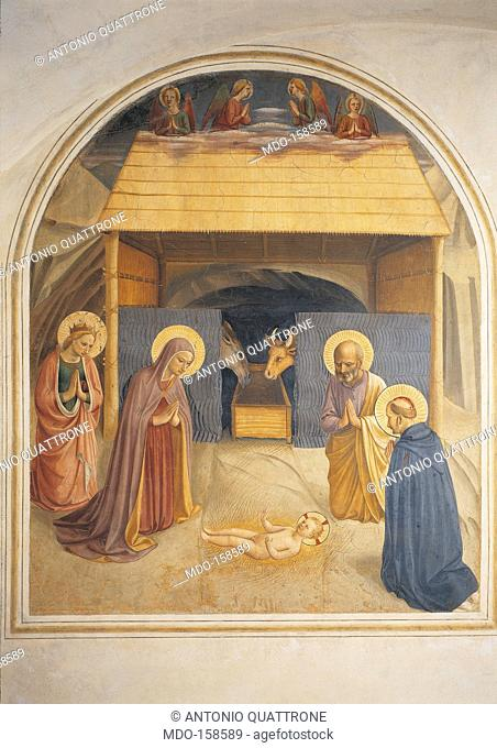 The Nativity, by Guido di Pietro (Piero) known as Beato Angelico, 1438 - 1446 about, 15th Century, fresco, cm 194 x 166. Italy, Tuscany, Florence