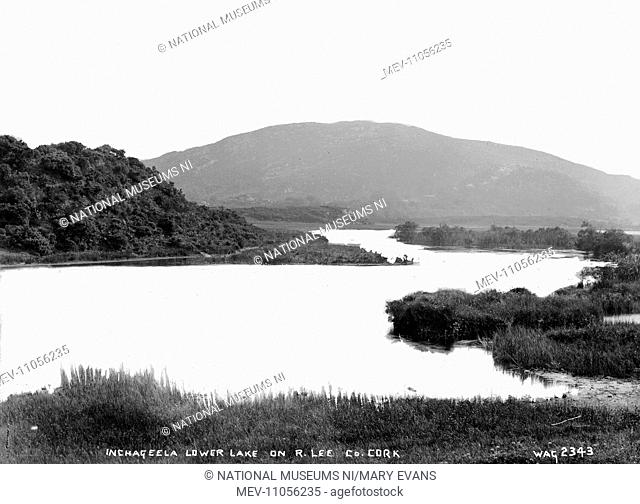 Inchageela Lower Lake on R. Lee, Co. Cork - a view of a lake set in mountains. (Location: Republic of Ireland; County Cork; Inchigeelagh)