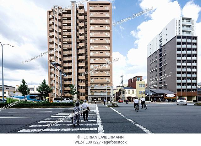 Japan, Kyoto, Japanese architecture, pedestrian crossing