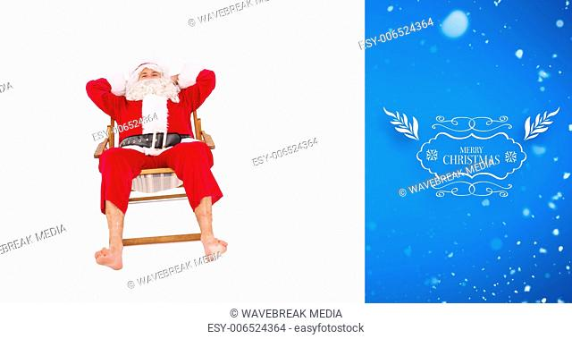 Composite image of happy santa relaxing on deckchair