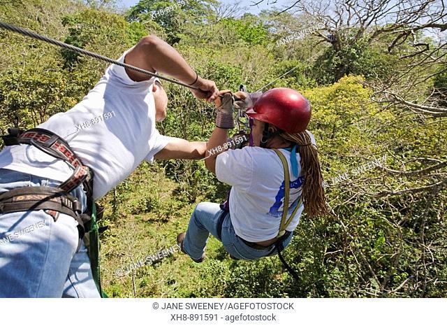 Tourists on zip-line, Mombacho Volcano Nature Reserve, Nicaragua