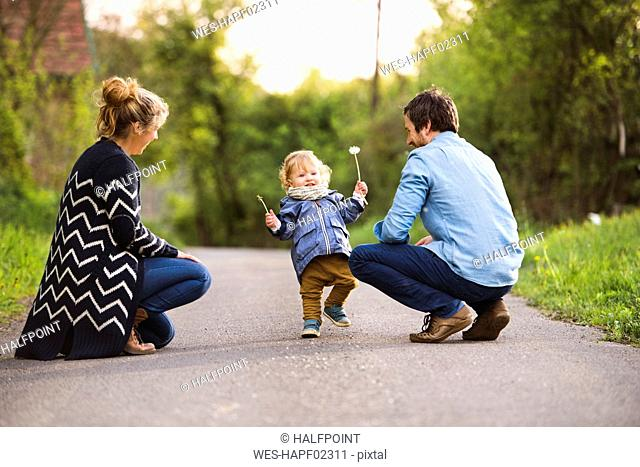 Cute little boy with parents on field path