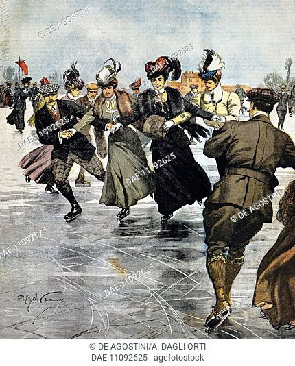 En vogue pastimes, ice skating, illustration by Achille Beltrame (1871-1945), from La Domenica del Corriere, January 27, 1907, Italy, 20th century