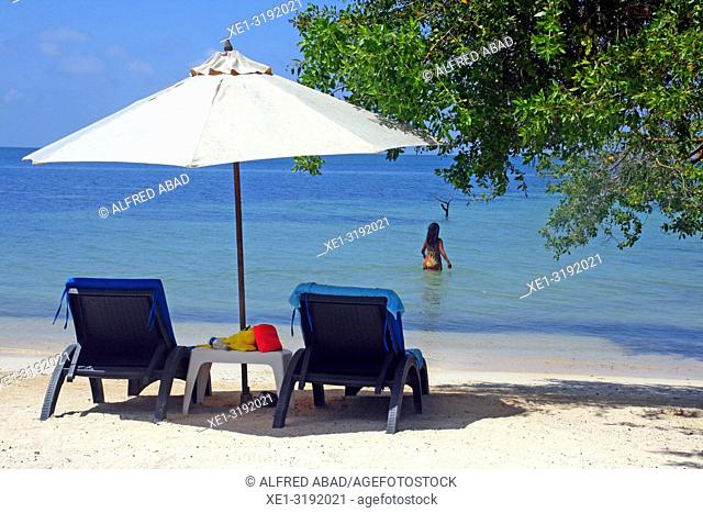 hammocks and parasol on the beach, Barú peninsula, Caribbean Sea, Colombia
