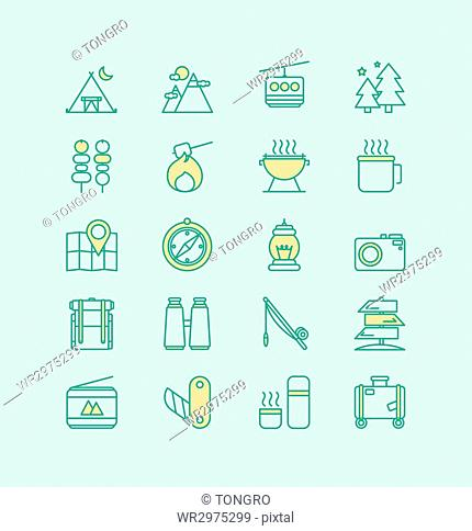Line icon set related to camping