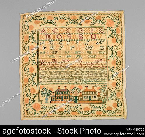 Embroidered sampler. Artist: Elizabeth L. Smith (1815-1841); Date: 1825; Geography: Made in East Haven, Connecticut, United States; Culture: American; Medium:...