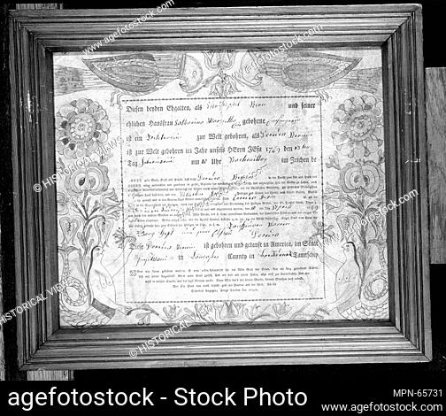 Birth and Baptismal Certificate. Date: 1769; Geography: Made in Lancaster County, Pennsylvania, United States; Culture: American; Medium: Ink and watercolor on...
