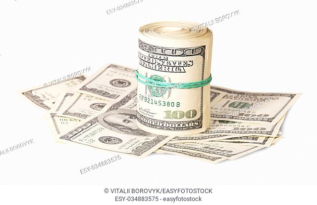 Vertical roll on the hundred dollar bills isolated on white background