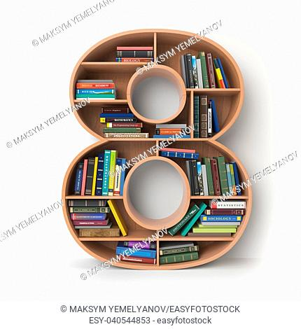 Number 8 eight. Alphabet in the form of shelves with books isolated on white. 3d illustration