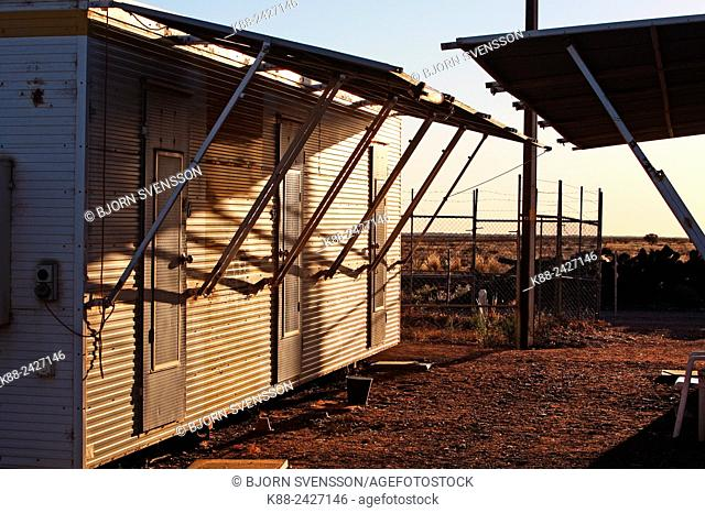 A 'Donga', or container used as workers accomodation in outback Australia. Parachilna, Flinders Ranges, South Australia