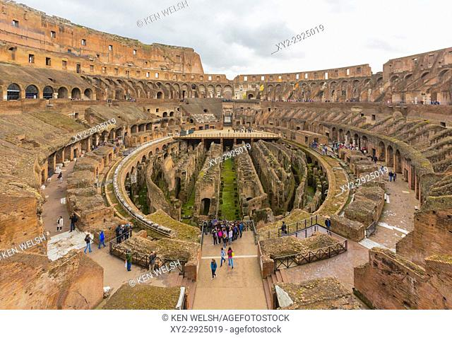 Rome, Italy. Interior of the Colosseum. The historic centre of Rome is a UNESCO World Heritage Site