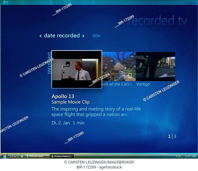 Microsoft Windows Vista, english version, Media Center User Interface, Recorded TV Area, screenshot