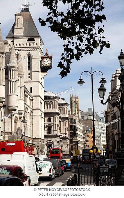 traffic jam outside the Royal Courts of Justice in Fleet Street
