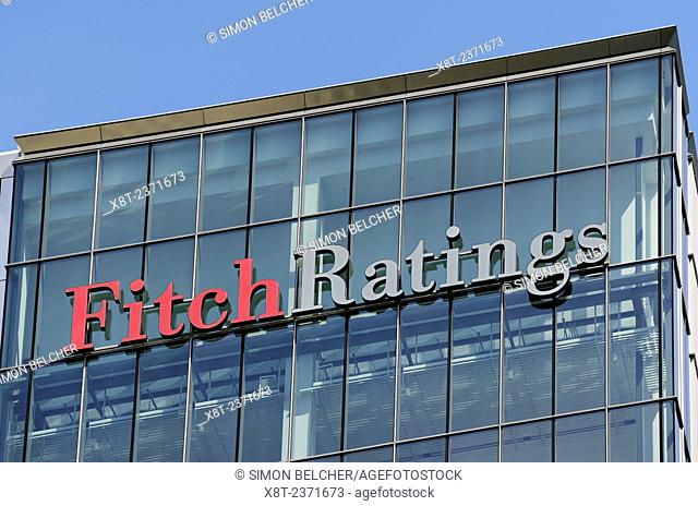 Fitch Ratings Sign on its Office Building, Canary Wharf, London, UK. Fitch is one of the big three credit rating agencies