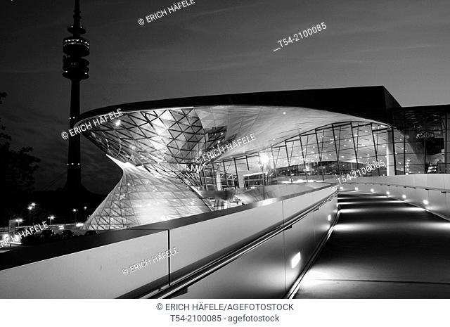 BMW Welt in Munich during twilight