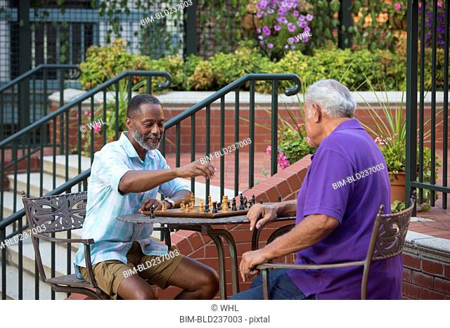Friends playing chess in garden