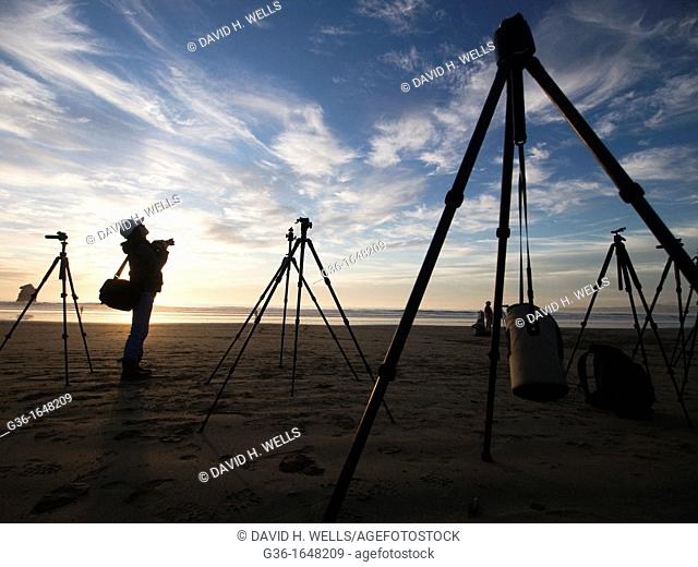 Photography equipment on the beach at sunset in Morro Bay, California, United States