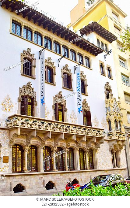 Modernist building Macaya House. Constructed by Josep Puig i Cadafalch architect at 1901. Barcelona, Catalonia, Spain