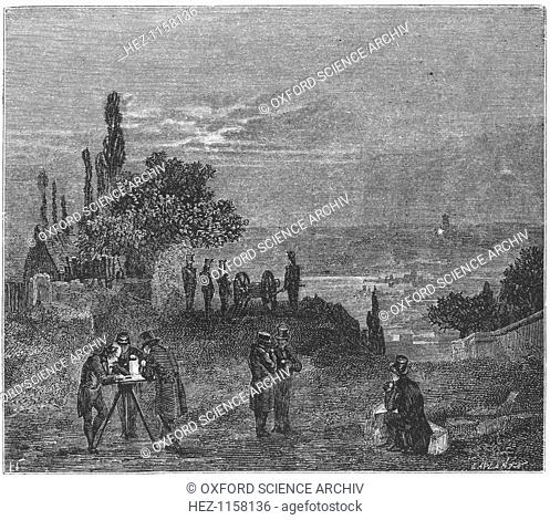 Experiment to calculate the speed of sound in air, Paris, 1822 (1873). In 1822 the French appointed a commission to find the speed of sound in air