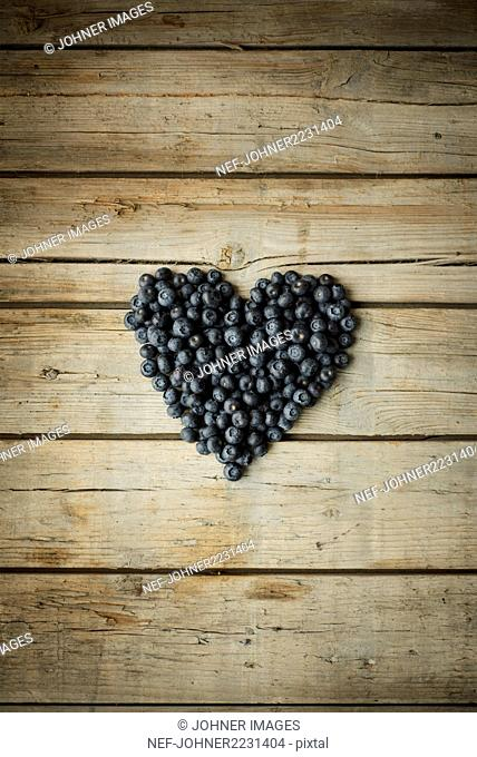 Heart made out of blueberries