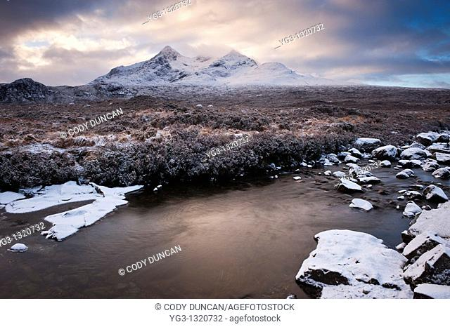 Clearning winter storm over Black Cuillins, Isle of Skye, Scotland
