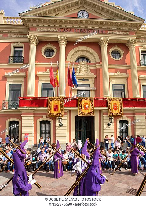Brotherhood of Our Father Jesus Nazarene better known as the Salzillos, Good Friday, Town hall located in the La Glorieta, City of Murcia, Spain, Europe