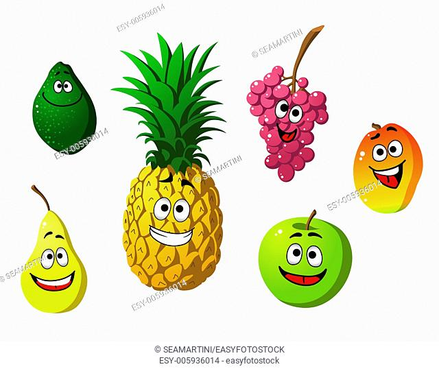 Apricot, pineapple, apple, pear, grape and lemon fruits in cartoon style