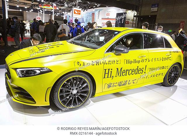 January 11, 2019, Chiba, Japan - A car Mercedes-Benz A180 Style on display at Tokyo Auto Salon 2019 at Makuhari Messe International Convention Complex