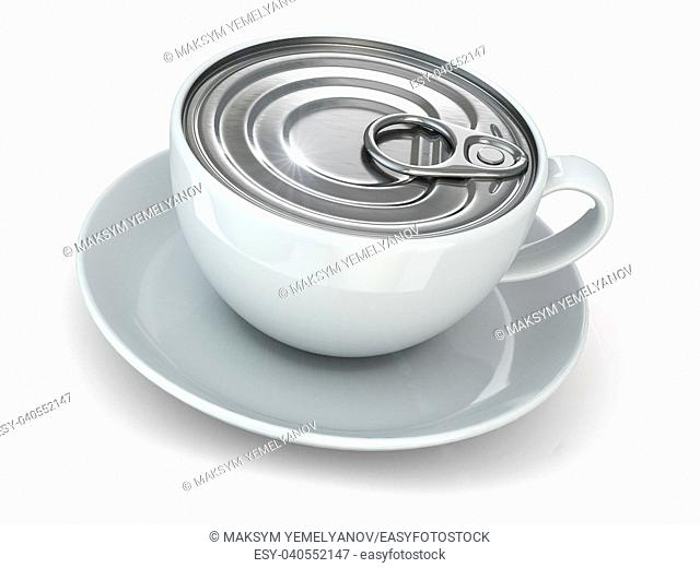 Instant coffe concept. Cup and cap of can. 3d