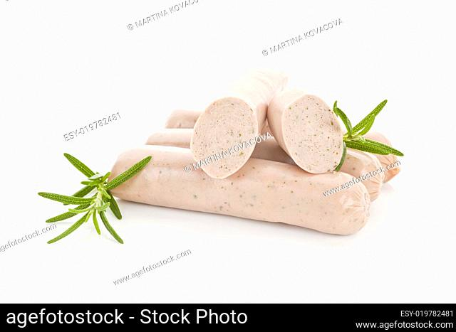 Several bratwurst sausages isolated