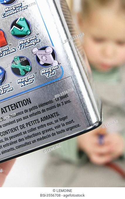 Games containing magnets. The packaging of the game has a warning marker on the possible dangers linked to the ingestion of magnets