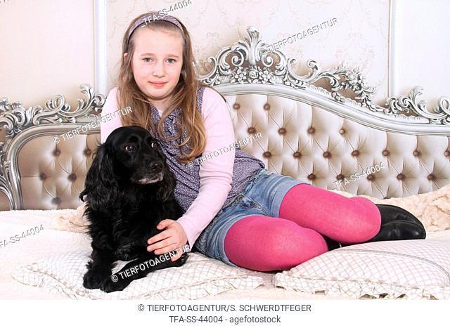 girl and Cocker-Spaniel-mongrel