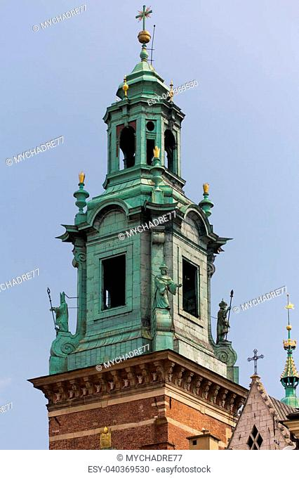 view on clock tower of wawel royal castle in cracow in poland