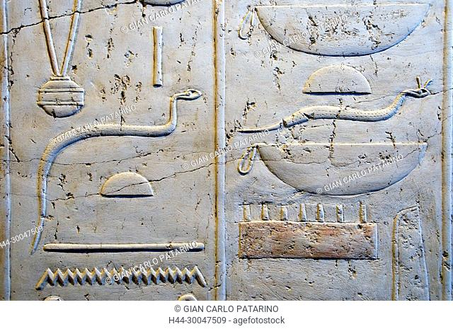 Luxor, Egypt. Temple of Merenptah (Baenra Meriamon) XIX° dyn. son of Ramses II the Great: hieroglyphs on a wall