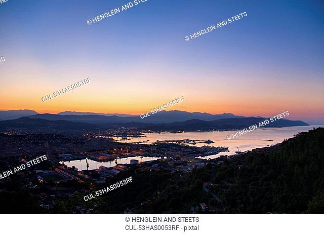 Aerial view of La Spezia and harbor