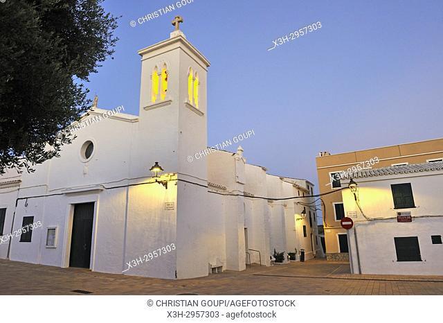 Sant Antoni Church on Pedro M. Cardona Square, village of Fornells, Menorca, Balearic Islands, Spain, Europe