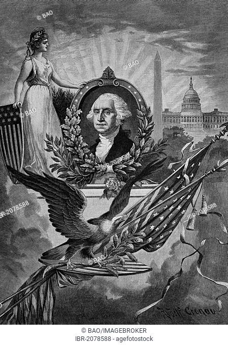 Memory image for George Washington, woodcut, historical engraving, 1882