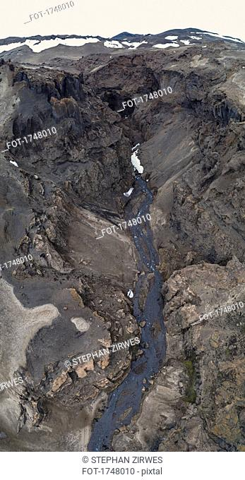 Aerial view of stream amidst rock formation, Askja, Iceland
