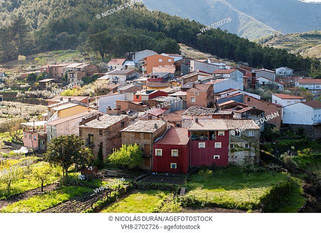 Spain, Extremadura, Caceres province, Pinofranqueado, Las Hurdes, Castillo village, Little village in Esparaban Valley